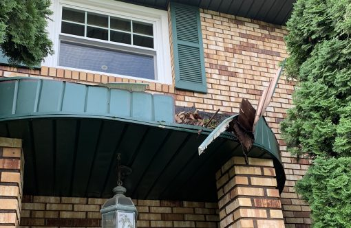 damaged awning debris build up