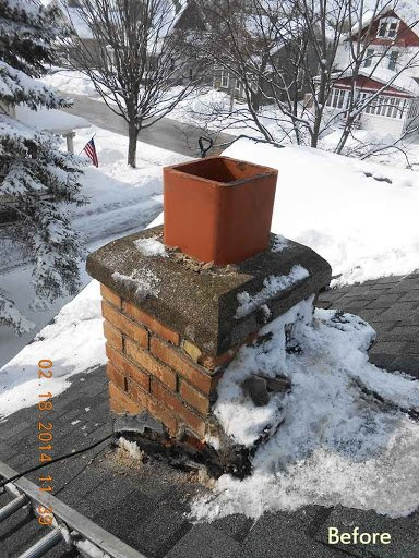 Chimney snow and ice build up repair clean