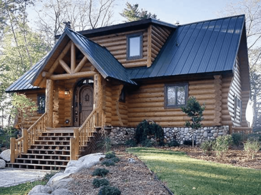 beautiful blue metal roof log cabin country home