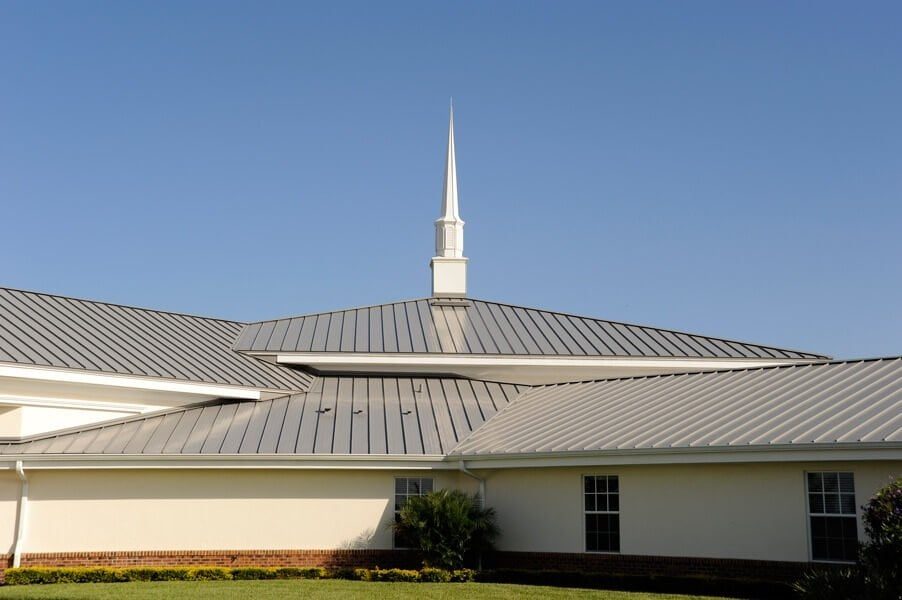 silver metal roofing on commercial church